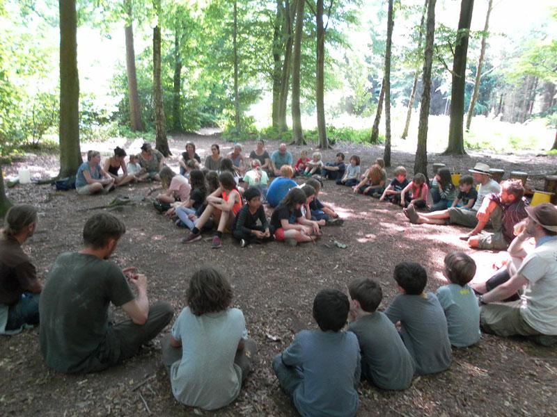Children in circle in woods