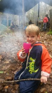 Time for a quick drink at Forest School!
