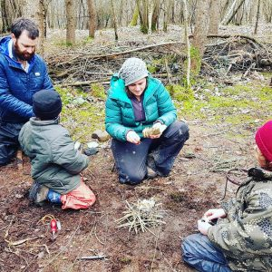 Making our own fires and experiencing woodland cooking!