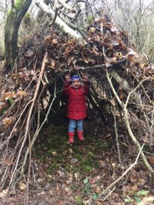 Making dens and shelters on our family wild day out!