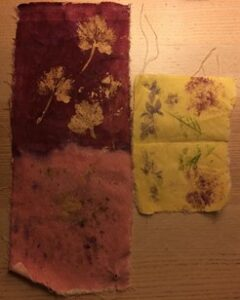 Collecting flowers and leaves and printed them on calico